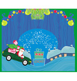 Santa claus driving car with christmas gift - vector