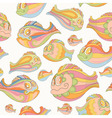 Seamless pattern with colorful cartoon fish vector