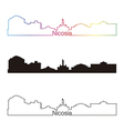 Nicosia skyline linear style with rainbow vector