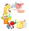 Set of farm production products vector