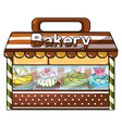 A bakery selling baked goodies and cakes vector