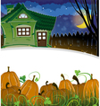Pumpkins and brick house vector