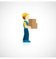 Delivery man icon flat vector