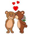 Cute bear couple kissing vector