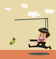 Businessman chasing money trap in retro color vector