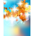 Autumn background with colorful leaves on blue vector