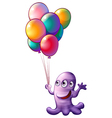 A monster holding balloons vector