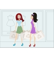 Cartoon shopping girls with reusable shopping bags vector