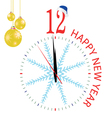 Clock with blue snowflake for new year vector