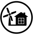 Round wind mill icon for home alternative power vector