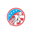 Baseball pitcher outfielder throwing ball circle vector