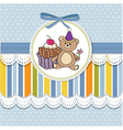 Birthday greeting card with cake and teddy bear vector