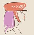 Beautiful fashion woman in hat vector