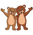 Bear couple cartoon waving hands vector