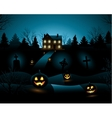 Blue halloween invitation haunted house background vector