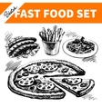 Fast food set hand drawn sketch vector