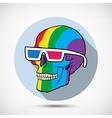 Color skull in 3d glasses vector