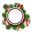 Round paper christmas card with gift boxes vector