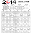 Calendar 2014 starts sunday vector