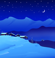 Winter night landscape vector