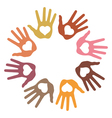 Circle of 8 loving hand prints vector