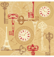 Vintage seamless pattern with clock keys and eiffe vector