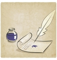Inkwell pen paper old background vector