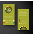 Modern green vertical business card template with vector