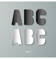 Paper graphic alphabet white and black abc vector