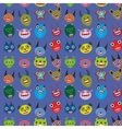 Cute cartoon monsters set on blue background vector