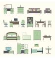 Furniture interior flat icons vector