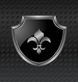 Heraldic shield on metallic background - vector