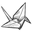 Doodle paper crane origami vector