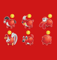 Piggy bank of chinese zodiac icon vector