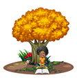 A black woman reading under the tree vector