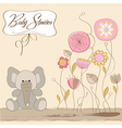 Romantic baby girl announcement card vector