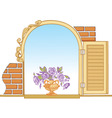 Old window and flowers vector