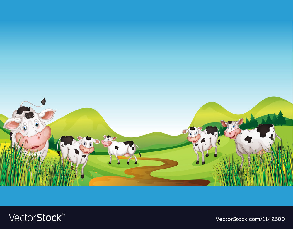 Group of cows vector | Price: 1 Credit (USD $1)