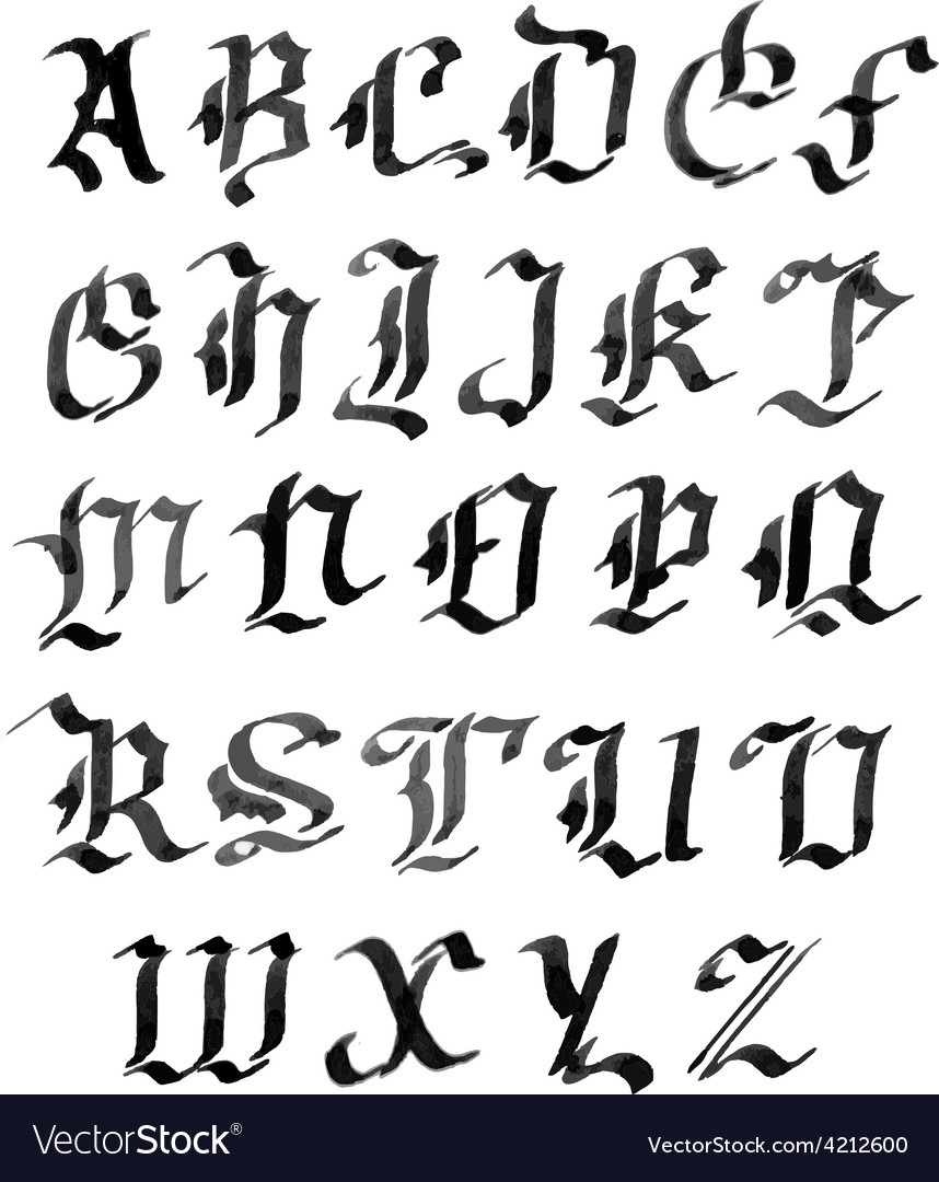 Hand drawn letters gothic style alphabet ink vector | Price: 1 Credit (USD $1)