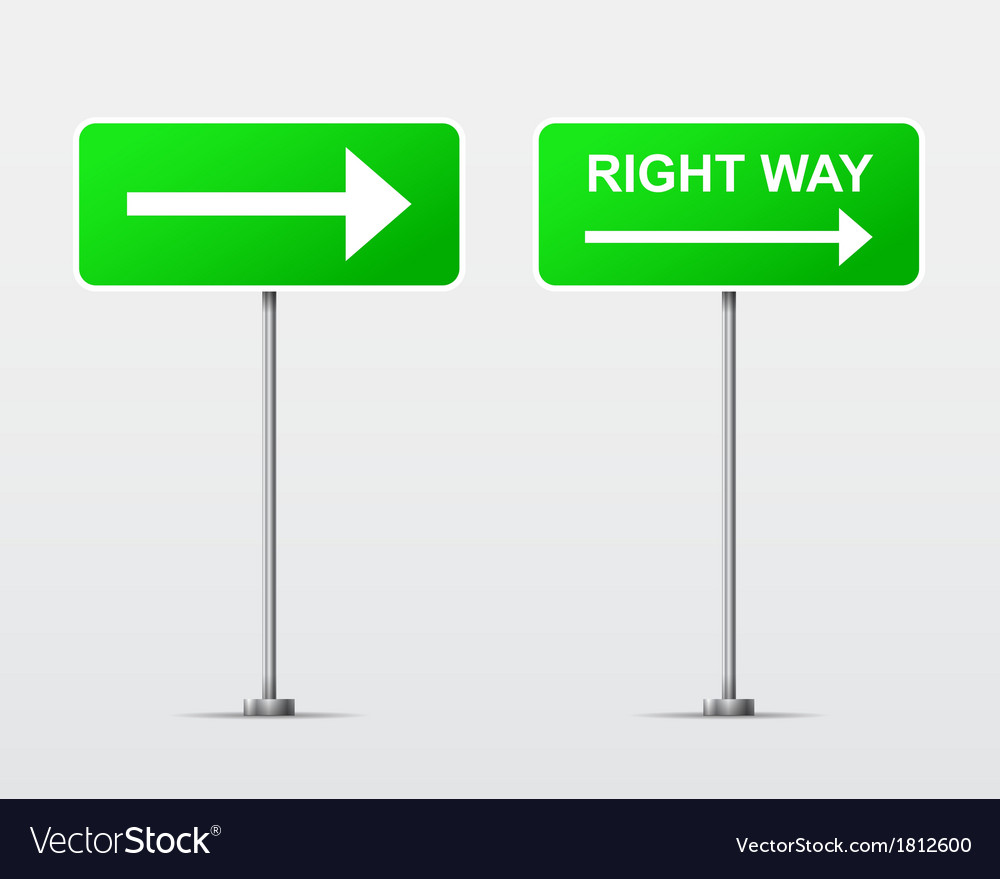 Right way street road sign isolated vector | Price: 1 Credit (USD $1)