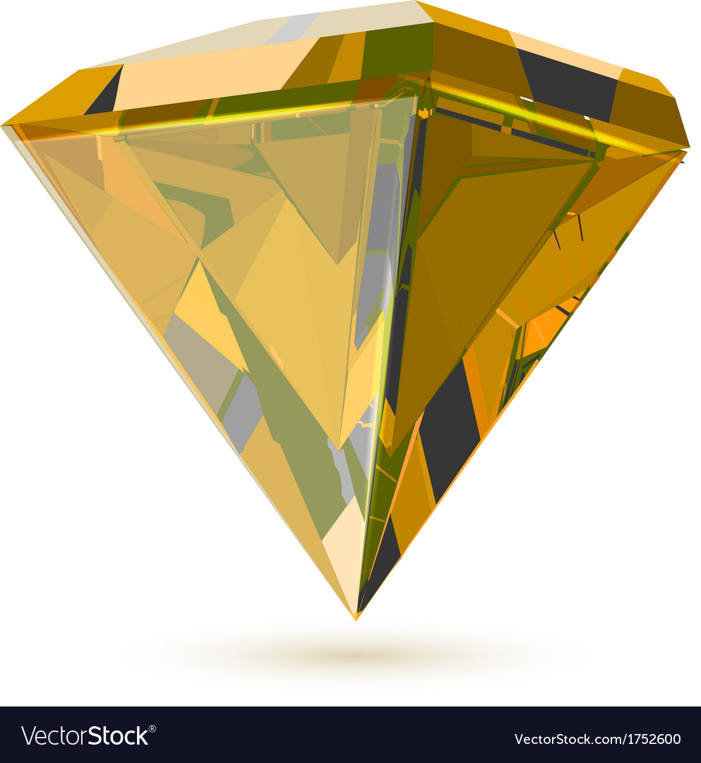 Shining transparent diamond isolated on white vector | Price: 1 Credit (USD $1)