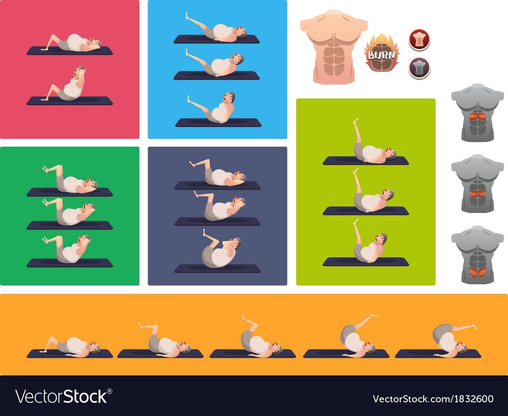 Sit up vector | Price: 1 Credit (USD $1)