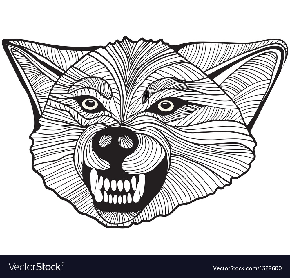 Wolf head animal for t-shirt sketch tattoo design vector | Price: 1 Credit (USD $1)