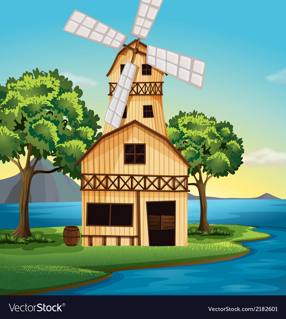 A farmhouse with a windmill vector | Price: 3 Credit (USD $3)
