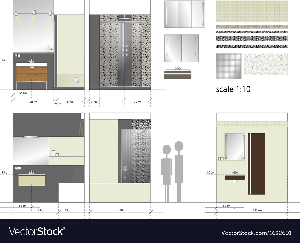 Bathroom interior furniture scale 1to10 vector | Price: 1 Credit (USD $1)