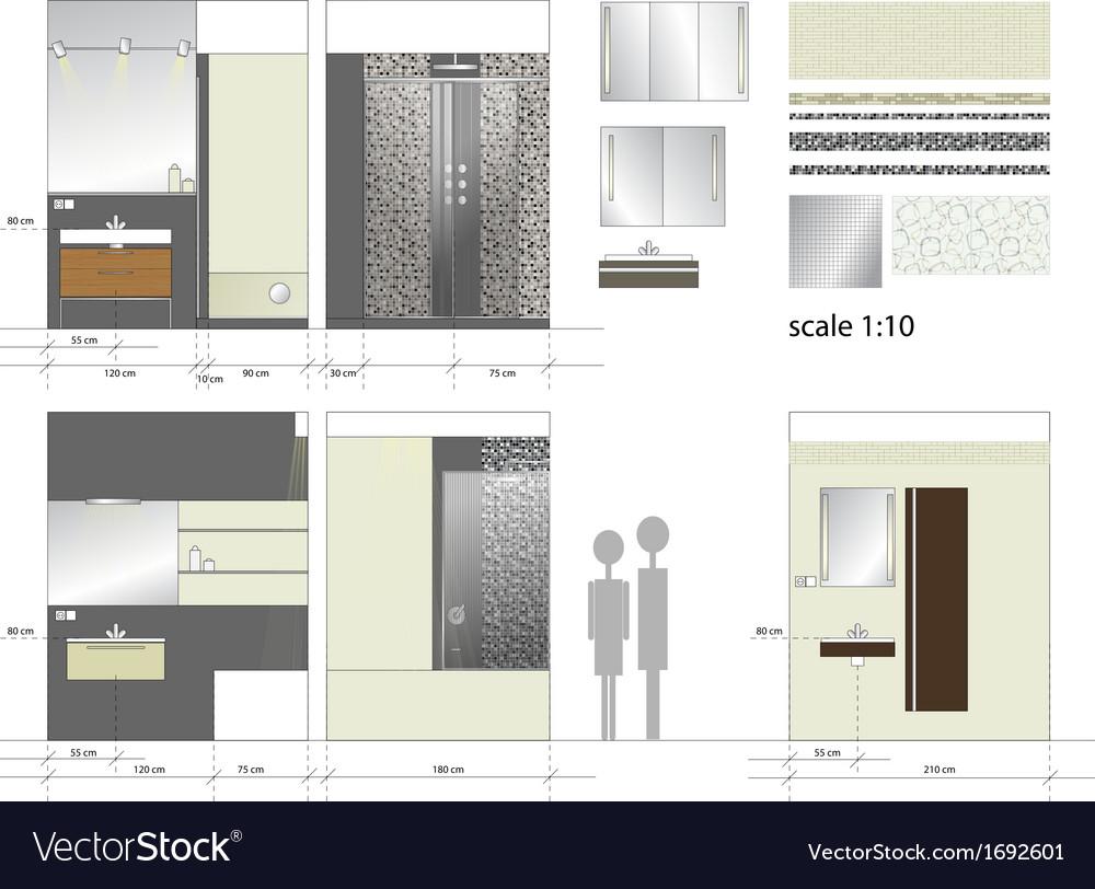 Bathroom interior furniture scale 1to10 vector | Price: 1 Credit (USD $1)