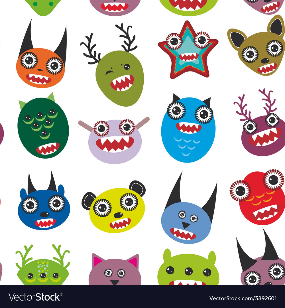 Cute cartoon monsters set seamless pattern on vector | Price: 1 Credit (USD $1)