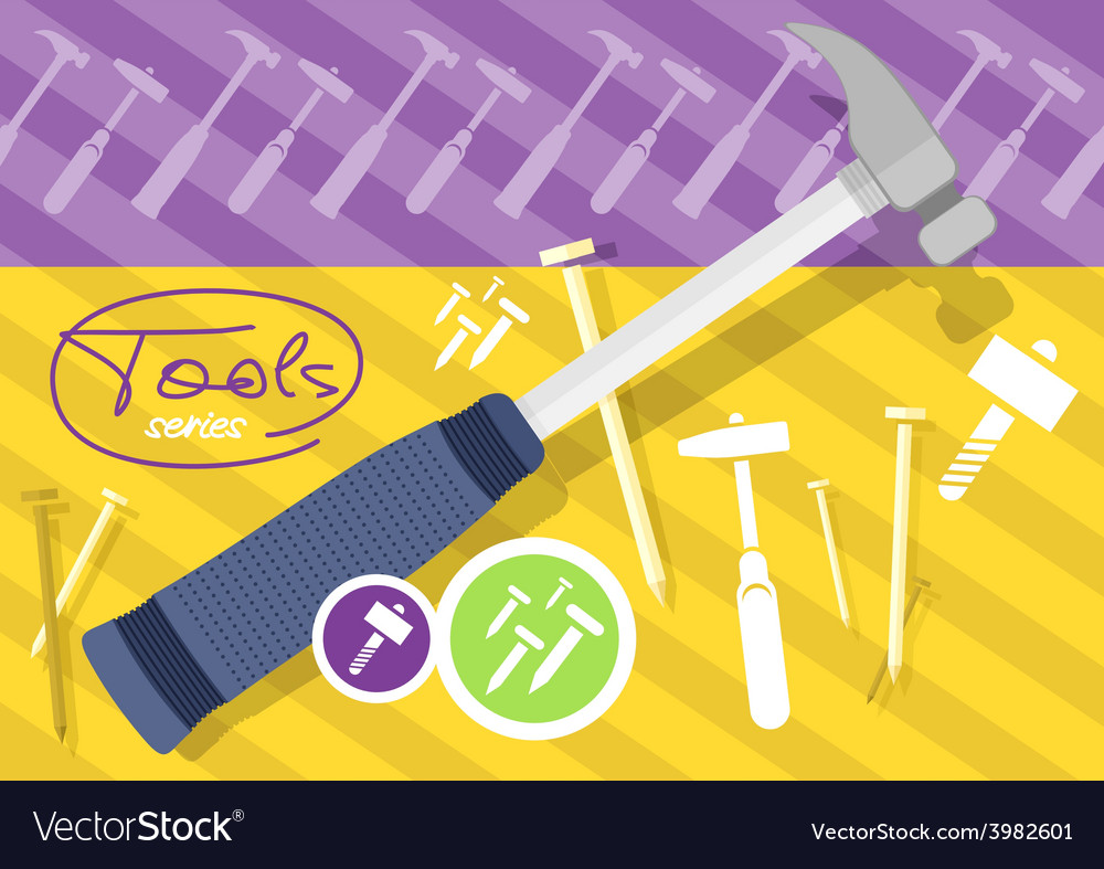 Hammer and nails hammer tool vector   Price: 1 Credit (USD $1)