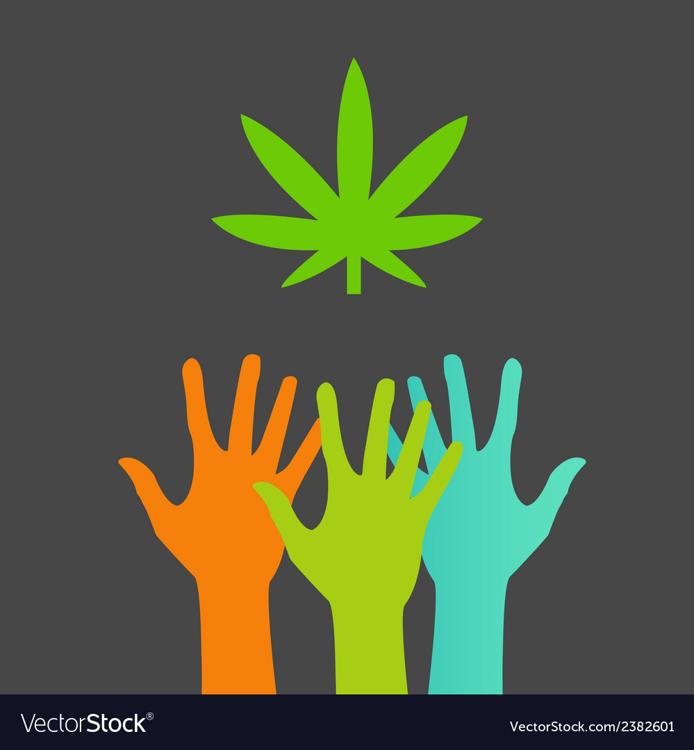 Hands reaching for a marijuana leaf vector | Price: 1 Credit (USD $1)