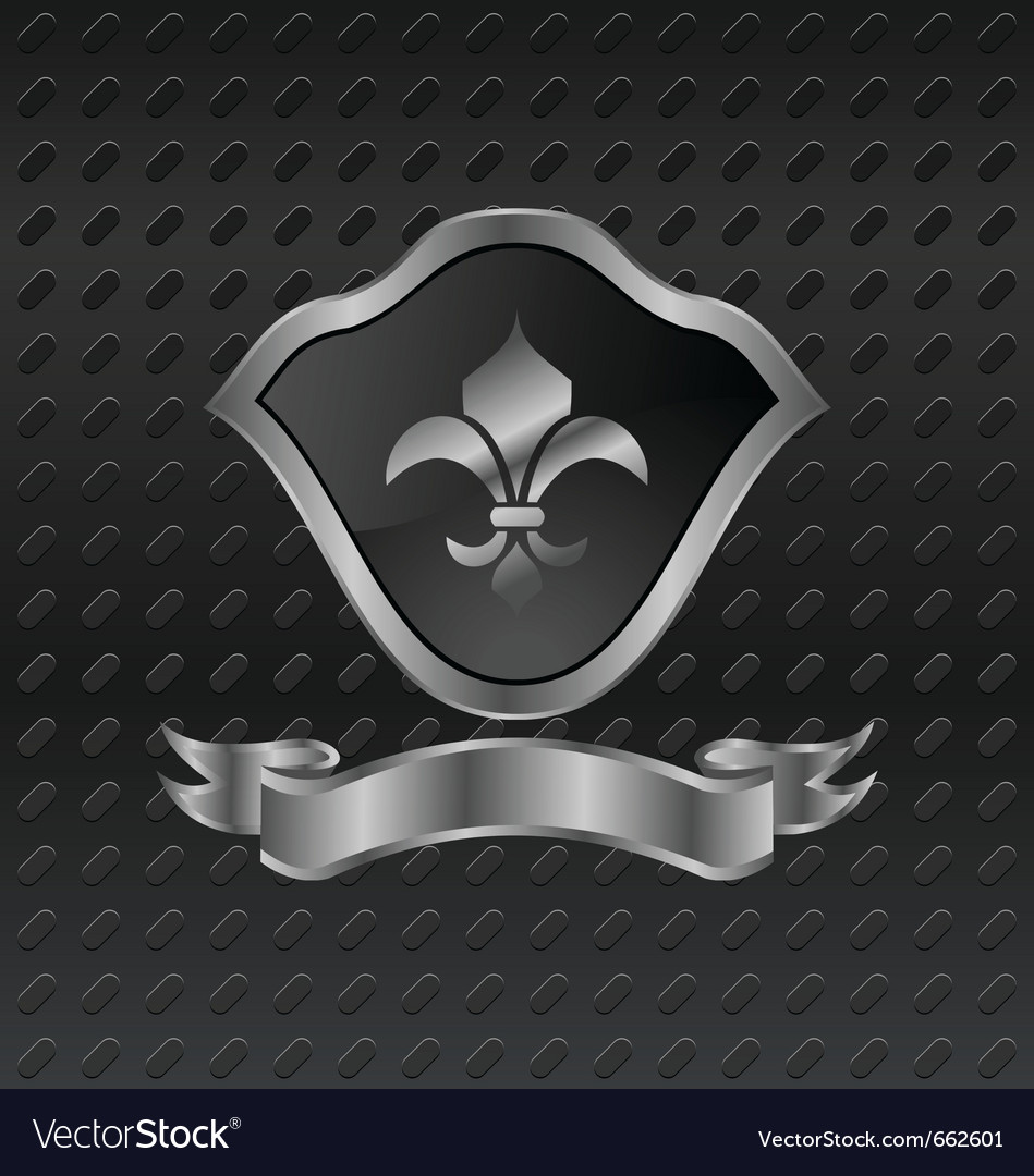 Heraldic shield on metallic background - vector | Price: 1 Credit (USD $1)